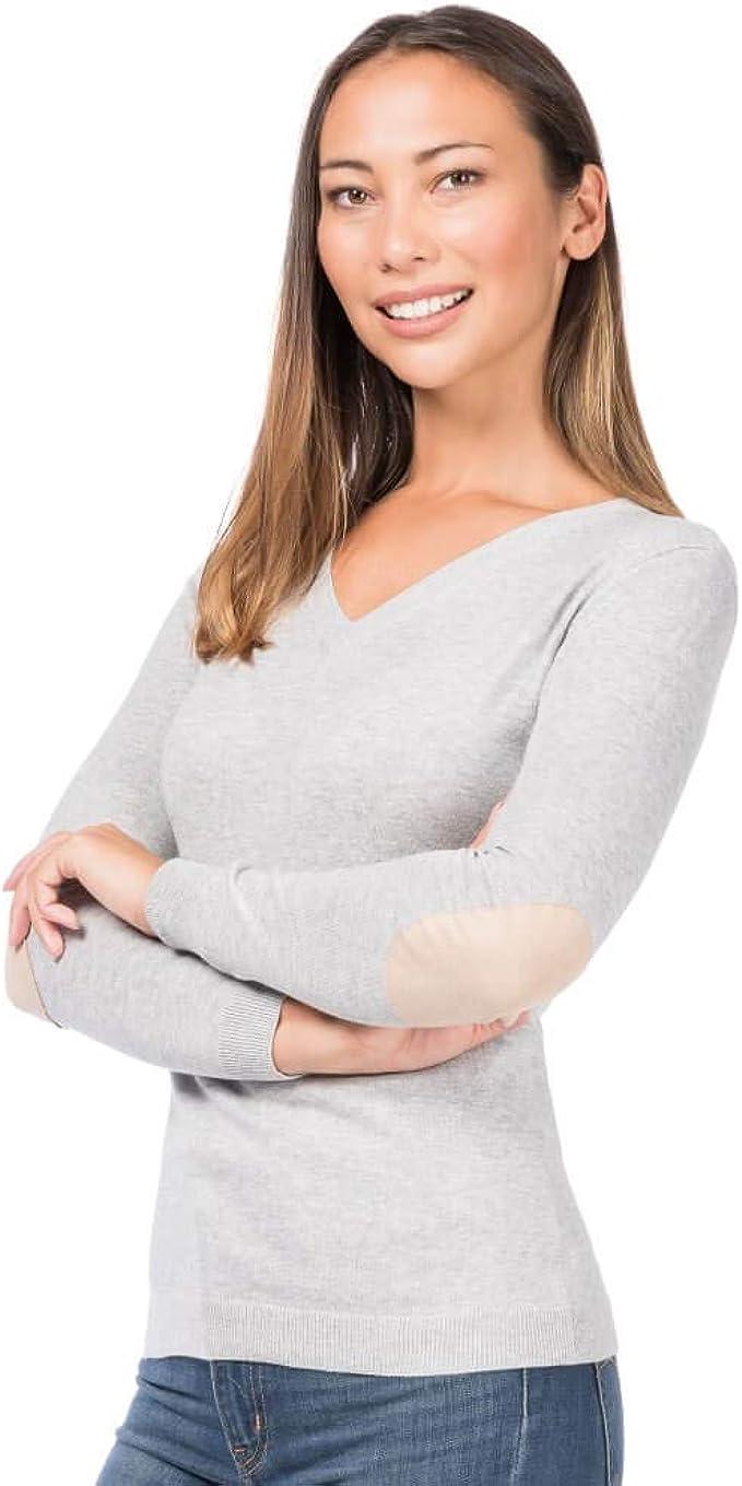 ALLBOW Damen Pullover V Ausschnitt Grau, Ellenbogen Patches