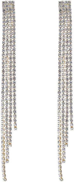 Deniferymakeup Pendientes largos de estrás, cadena de piedras de cristal con tonos dorados o plateados, para mujeres y niñas, tonos brillantes, accesorios de diamantes de imitación