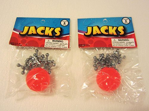 2 SETS OF METAL STEEL JACKS WITH SUPER RED RUBBER BALL GAME CLASSIC TOY KIDS BY DISCOUNT PARTY AND NOVELTY (Jacks Set Metal)