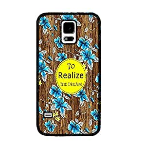 Floral Pattern Wood Print for Samsung Galaxy S5 I9600 Hard Protective Skin Cell Phone Case Cover (monogram black ju5245)