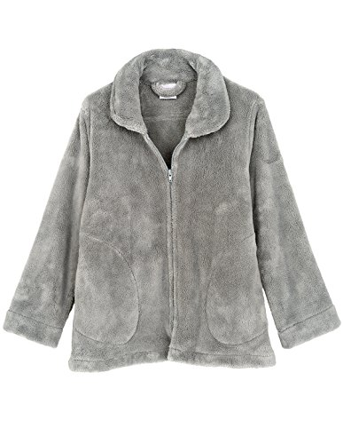 TowelSelections Women's Bed Jacket Zip Front Cardigan Fleece Robe Lounge Coverup Medium Silver