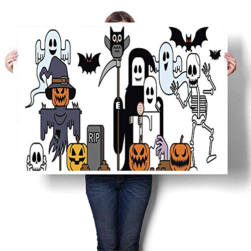 MartinDecor Abstract Painting Halloween Costume Characters 2 Decorative Fine Art Canvas Print Poster K 28