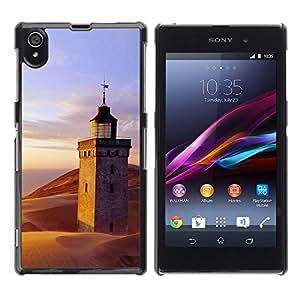 Be Good Phone Accessory // Dura Cáscara cubierta Protectora Caso Carcasa Funda de Protección para Sony Xperia Z1 L39 C6902 C6903 C6906 C6916 C6943 // Nature Lighthouse Beach