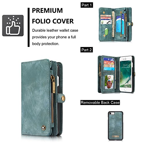 ICE FROG iPhone 7 / 8 Plus 5.5'' Wallet Case, Premium Folio Zipper Purse Leather Detachable Magnetic Case with Flip Credit Card Slots Stand Holder Cover for iPhone 7 / 8 Plus 5.5 inch - Blue by ICE FROG (Image #1)