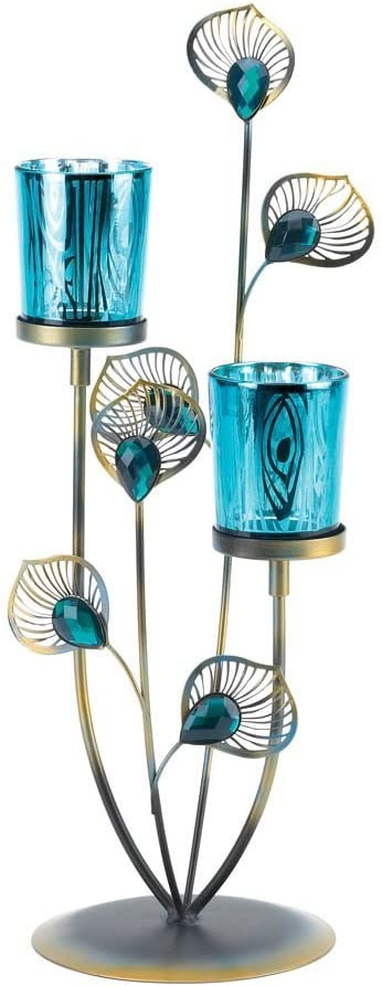 Gallery of Light 10015949 Peacock Plume Candleholder, Multicolor