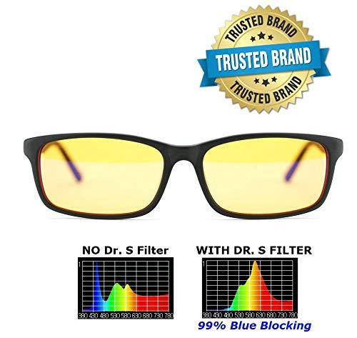 Dr. S Blue Light Blocking Computer Glasses, 99% Blue Light Blocking, Anti-Glare, UV Protection, Radiation Protection, Gaming, Better Sleep, Reduce Eyestrain Designed by an Eye Doctor (Small Square)