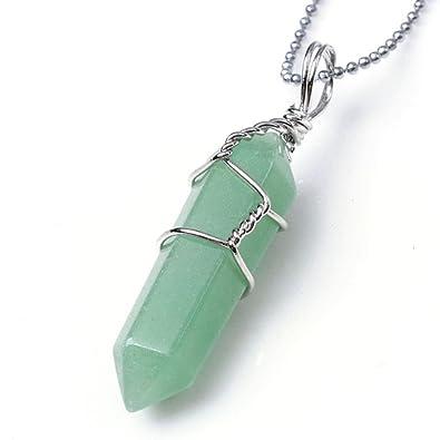Jovivi Rock Crystal Divination Quartz Healing Point Chakra Pendant - Green  Aventurine
