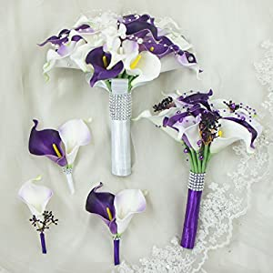 Lily Garden Real Touch Calla Lily Purple and White Flowers Wedding Bouquet 62