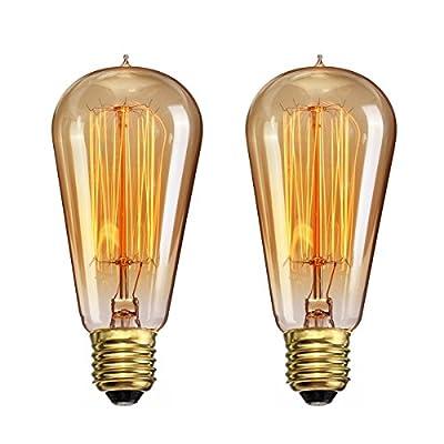 CTKcom Vintage Edison Light Bulbs(2 Pack)- 40W ST58 Vintage Squirrel Cage Filament E26/E27 base,Antique Incandescent Bulb,Vintage Teardrop Top Lamps for Home Light Fixtures E26/E27 110V-130V