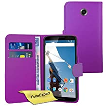 Nexus 6 Case, FoneExpert® Premium Leather Flip Book Wallet Case Cover For Nexus 6 + Screen Protector & Cloth (Purple)