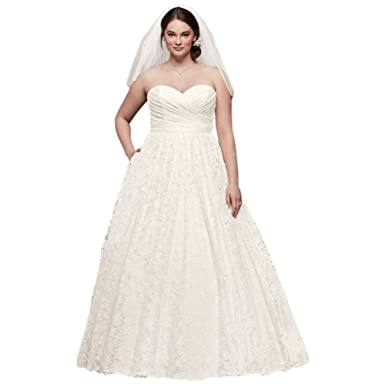 David\'s Bridal Lace Sweetheart Plus Size Ball Gown Wedding Dress ...