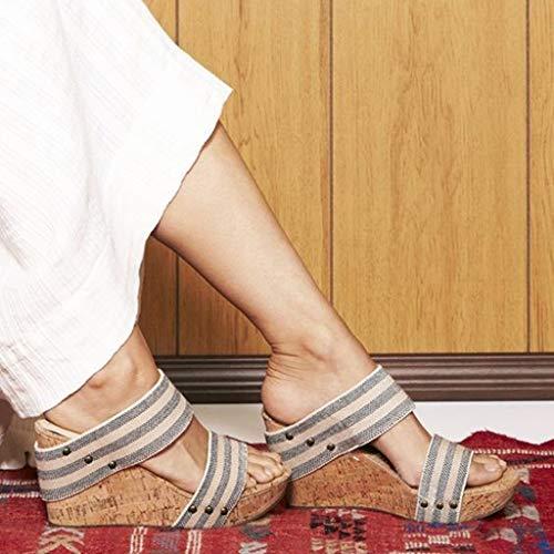 Moda Lanskrlsp High Eleganti Tacco Benda Heels Pantofole Sexy Sandals Striscia Donna Caviglia Zeppa Casual Romani Estivo Espadrillas Sandali wPSr6w