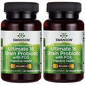 Swanson Probiotic with Prebiotic FOS Dr. Stephen Langer's Formula Digestive Support 16-Strain Supplement 3.2 Billion CFU 60 Capsules (2 Pack)