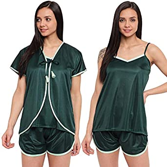 Style Dunes Women's Top and Shorts Night Suit Set with Robe (3 Piece)