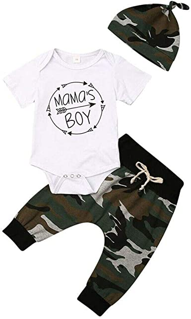 Newborn Baby Girls Boys Clothes Mamas Boy Daddys Princess Romper Bodysuit Tops Camo Pants Headband Outfits Set 3Pcs