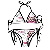 Guiping Womens Ornate Colorful Owl On The Branch Observing Flat Face Myst Animal Artsy Sexy Biniki Swimwear Swimsuit Bathing Beach Swimming Suit