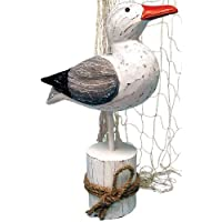 Beachcombers International 12 Wood Seagull On Piling With Rope by Beachcombers International