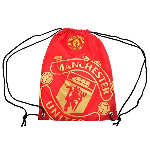 Manchester United Shoes - Manchester United FC Official Foil Print Football Crest Gym Bag (One Size) (Red/Gold)