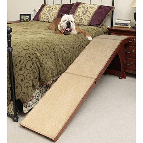 Pet Supplies Solvit 25'' Bedside Cherry Finished Carpet Pet Dog Ramp by Solvit