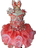 Jenniferwu Infant Toddler Baby Newborn Little Girl's Pageant Party Birthday Dress G016 Peach Size 9-12M