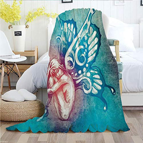 Butterflies Decorations,Throw Blankets,Flannel Plush Velvety Super Soft Cozy Warm with/Fairy with Butterfly Wings Renewal Female Rebirth Psyche Lightness of Being/Printed Pattern(70