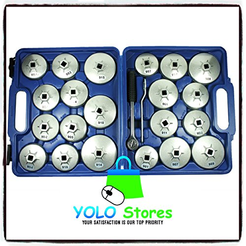 Oil Filter Tool Kit Removal Wrench Cap Car Garage Set Loosen Tighten Cup Socket Truck 23PC By YOLO Stores by YOLO Stores (Image #1)