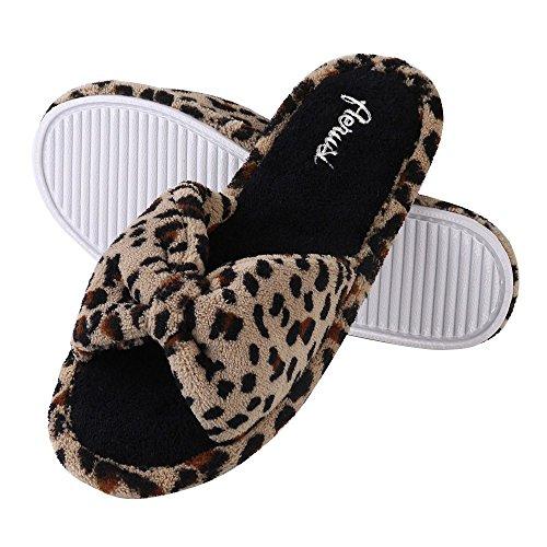Aerusi Womens Leopard Bow Tie Casa Comoda Accogliente Camera Da Letto Scivolo Scivolo