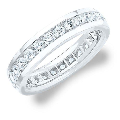 2.0 CT Men's Eternity Ring in 18K White Gold, Handsome Mens Diamond Wedding or Anniversary Ring (F-G Color/ VS Clarity), Size 10 (Eternity 18k Diamond Ring Gold)