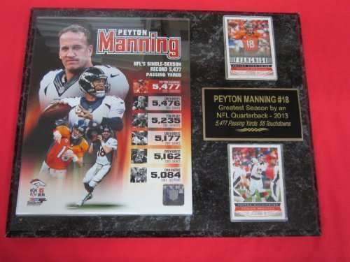 Peyton Manning Denver Broncos 2 Card Collector Plaque #1 w/8x10 2013 RECORD BREAKING SEASON (Collectors Peyton Manning)