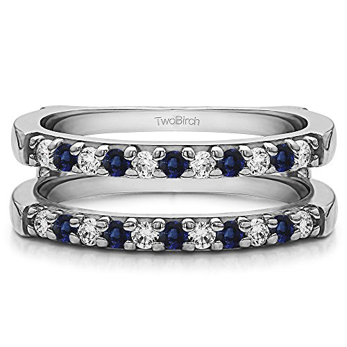 Silver Double Shared Prong Straight Ring Guard with Diamonds and Sapphire (0.51 ct. twt.) by TwoBirch