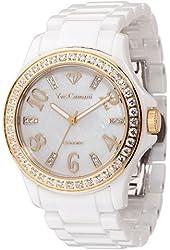 Yves Camani Cereste Women's Watch Quartz Ceramic White Gold Mother Of Pearl Dial Ceramic Strap YC1077-A
