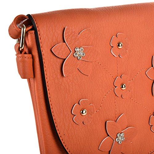SALLY Flower YOUNG Bag High PU Foldover Women Body Orange Leather Fashion Decoration Quality Cross 88drqW