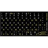 4Keyboard RUSSIAN-ENGLISH BLACK BACKGROUBD KEYBOARD STICKERS NON TRANSPARENT FOR COMPUTERS LAPTOPS DESKTOP KEYBOARDS