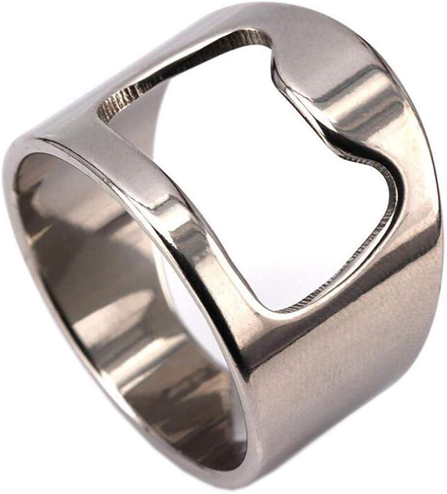 Bottle Opener Ring Beer Key Bar Tool Stainless Steel Keychain Finger Silver New