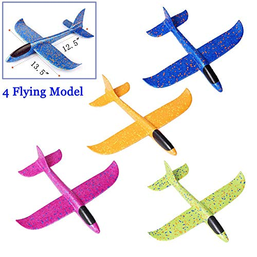 Inchoispace 4PCS Gliders Airplane Toy Set for Kids, Manual Throwing Model Foam Aircarft Outdoor Sport Flying ()