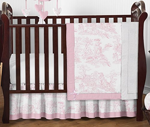 Pink and White French Toile Baby Girl Bedding 4 Piece Crib Set Without Bumper (Chenille Jojo Soft Designs Blanket)