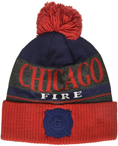 fan products of MLS Chicago Fire Men's Heathered Gray Cuffed Knit Beanie with Pom, One Size, Black/Red