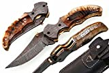 Grace knives Handmade Damascus Folding Knife 8 Inches- Handle Made With RAM HORN G-1059 (With Sheath)
