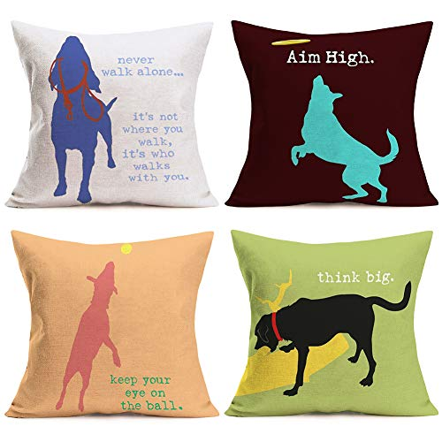 ShareJ Set of 4 Funny Quotes Throw Pillow Covers Abstract Dog Silhouette Pattern Unique Design Decorative Pillow Cases Home Decor Square 18x18 Inches Colorful Pillowcases