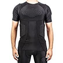 DGYAO® Mens Boys Body Safe Guard Padded Compression T-shirt Short Sleeve Padded Shirt Rib Chest Protector for Rugby Basketball Football Paintball Cycling and Other Contact Sports