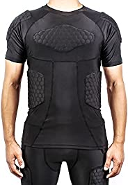 TUOY Mens Boys Body Safe Guard Padded Compression T-Shirt Short Sleeve Padded Shirt Rib Chest Protector for Ru