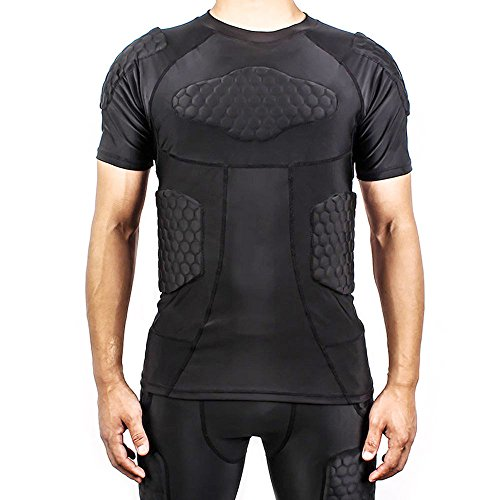 DGYAO® Mens Boys Body Safe Guard Padded Compression T-shirt Short Sleeve Padded Shirt Rib Chest Protector for Rugby Basketball Football Paintball Cycling and Other Contact Sports …