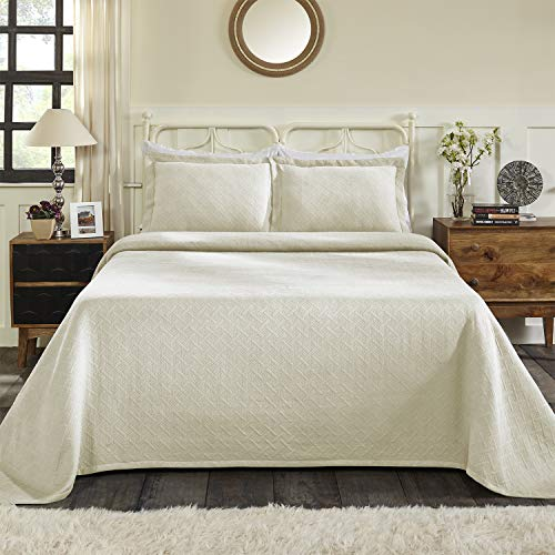 Blue Nile Mills 100% Cotton Basket Matelasse Queen Bedspread, Ivory from Blue Nile Mills
