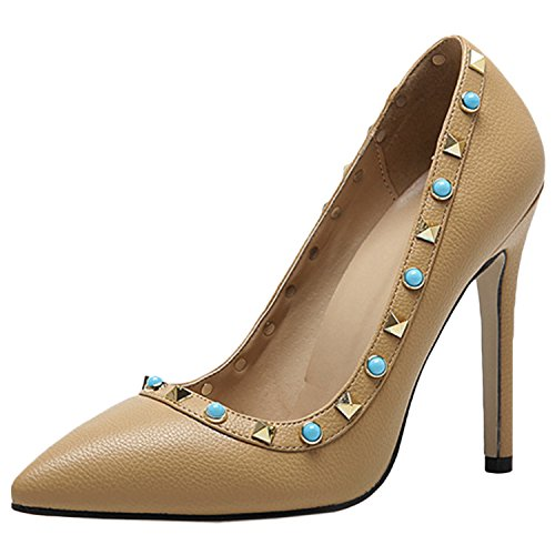 Womens Pointed Stiletto PU Fashion Pumps with Rivets Apricot - 3