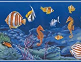 Colorful Fish Seahorse in the Bottom of the Ocean Vintage Nautical Wallpaper Border Retro Design, Roll 15' x 7''