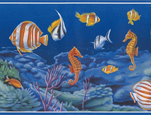 Colorful Fish Seahorse in the Bottom of the Ocean Vintage Nautical Wallpaper Border Retro Design, Roll 15' x 7'' (Fish Wall Border)