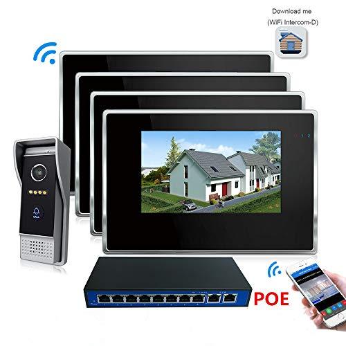 - Jeatone 7 inch Color LCD Monitor IP Video Door Phone Doorbell Intercom System IR-Cut Night Vision Speakerphone Camera 4 Monitors 1 Camera