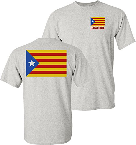 Flag Front Ash Grey T-shirt - Catalonia Blue Starred Flag L'Estelada Blava Pro Independence Front & Back Ash Grey T-Shirt (Ash Grey, 3XL)