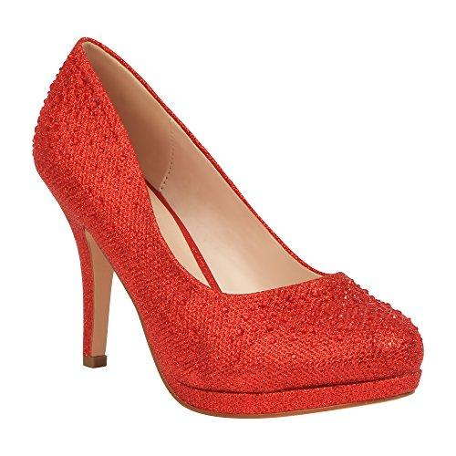 (MVE Shoes Women's Stylish Round Toe Dressy Mid Heel Pump, Red Sparkle 10)