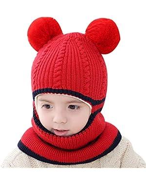 Kids Winter Hat Beanies Caps Cute Thick Earflap Hood Hat Scarves